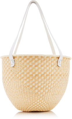 Sensi Two-Tone Leather-Trimmed Straw Tote