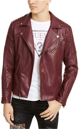 GUESS Men Fairfax Quilted Faux Leather Biker Jacket