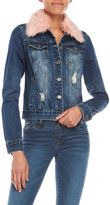 YMI Jeanswear Faux Fur Collar Jean Jacket