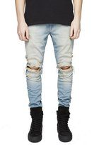 Fboards Men's Biker Skinny Distressed Ripped Slim Washed Denim Jeans