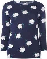 Dorothy Perkins Navy Floral Print 3/4 Sleeve Top