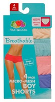 Fruit of the Loom Women's Breathable Boyshort 4-Pack