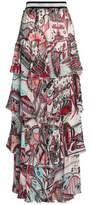 Just Cavalli Layered Printed Crepe Maxi Skirt