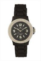 Swarovski Laurens Women's GW70J900Y Crystal Bezel Black Dial Rubber Watch