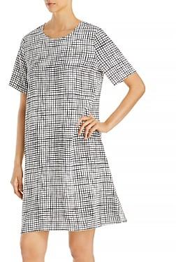 Eileen Fisher Round Neck Printed Dress
