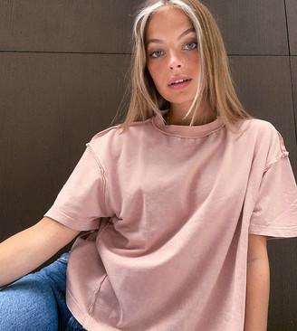 ASOS DESIGN Petite oversized t-shirt with exposed seams in wash in mink