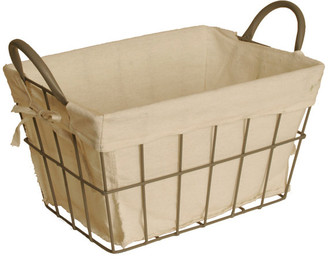 WaldImports Wire Basket With Linen Liner, Medium