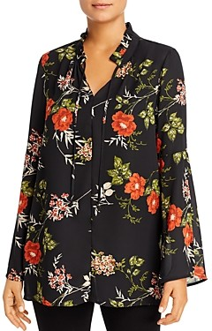Single Thread Floral Crepe Tunic Top