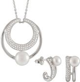Splendid Pearls Silver 7-8Mm Freshwater Pearl & Cz Drop Earrings & Necklace Set