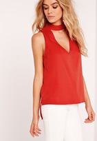 Missguided Choker Neck Tank Top Top Red