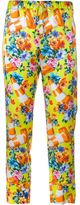 Moschino cone and floral print trousers - women - Silk/Cotton - 40