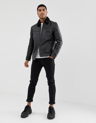 ASOS DESIGN leather flight jacket with fur collar in black