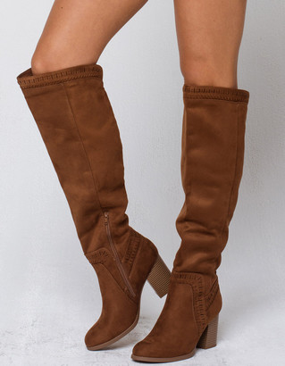 Soda Sunglasses Chestnut Over The Knee Womens Boots