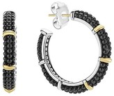 Lagos 18K Gold and Sterling Silver Black Caviar Hoop Earrings