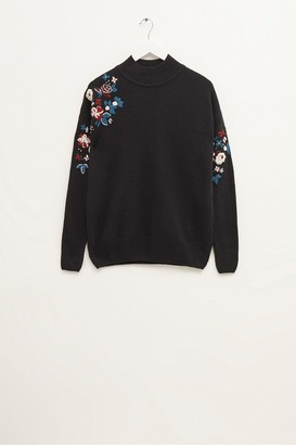 French Connection Tilda Embroidery Knits Mock Neck Jumper
