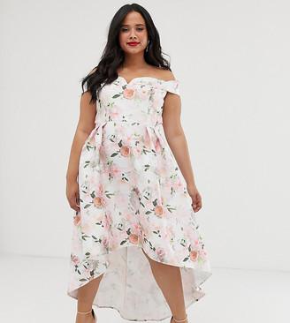 Chi Chi London Plus bardot midi prom dress in floral