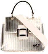 Roger Vivier Viv Cabas Mini Shirting Striped Top-Handle Bag