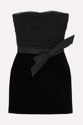 Saint Laurent Strapless Bow-detailed Ruched Organza And Velvet Mini Dress - Black