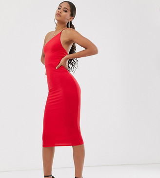 ASOS DESIGN Tall Exclusive going out one shoulder bodycon midi dress in red