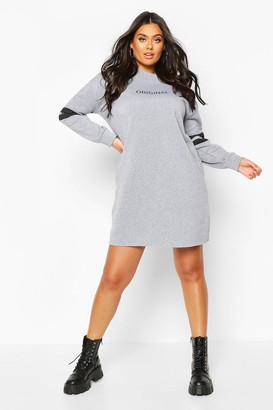 boohoo Plus Stripe Sleeve Slogan Sweat Dress
