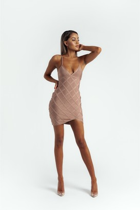 Made By Issae The 'Delyla' Strappy Bandage Mini Dress in Nude