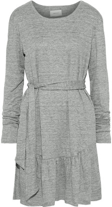 Current/Elliott The Crystal Belted Melange Linen-jersey Mini Dress