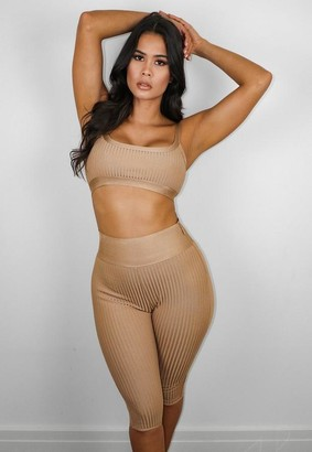 Missguided Premium Camel Bandage Crop And Shorts Co Ord Set