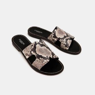 Essentiel Black Leather Snake Print Sandals - 37