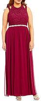 Jodi Kristopher Plus High Neck Beaded Cutout Shoulder Lace Bodice Long Dress