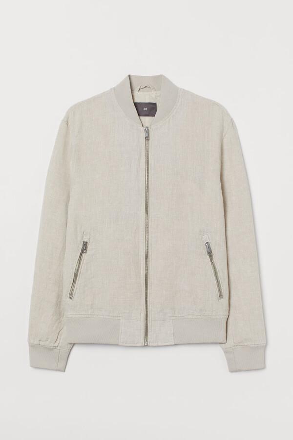 H&M Linen Bomber Jacket - White