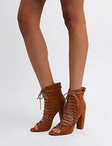 Charlotte Russe Lace-Up Block Heel Booties