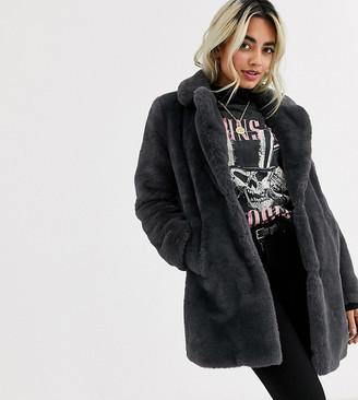 New Look Petite faux fur coat in dark gray
