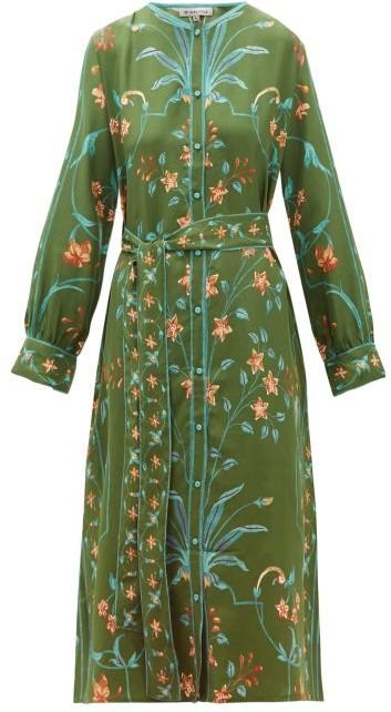 D'Ascoli Jahan Floral-print Tie-waist Silk Dress - Womens - Green Multi