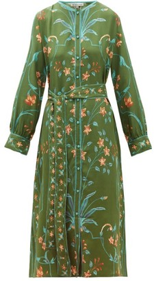 D'Ascoli Jahan Floral-print Tie-waist Silk Dress - Womens - Green Multi
