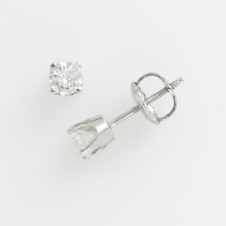 14k White Gold 1/2-Ct. T.w. Certified Round Cut Diamond Stud Earrings
