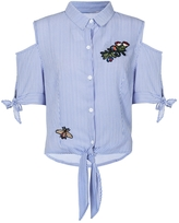 Quiz Blue And Cream Stripe Embroidered Cold Shoulder Shirt