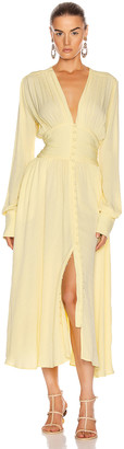 Rotate by Birger Christensen Tracy Long Dress in Lemonade   FWRD