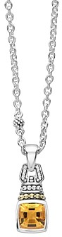 Lagos 18K Gold and Sterling Silver Caviar Color Necklace with Citrine, 16