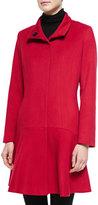 Neiman Marcus Wool-Cashmere Princess Flared Coat, Cobalt