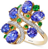 LeVian Le Vian Crazy Collection® Tanzanite (3-3/4 ct. t.w.), Tsavorite (3/8 ct. t.w.) and Diamond (1/5 ct. t.w.) Cluster Ring in 14k Gold, Only at Macy's