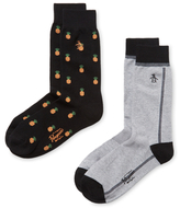 Original Penguin Intarsia Ribbed Mid-Calf Socks (2 PK)