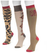 Muk Luks Women's 3-Pack Safari Knee High Socks