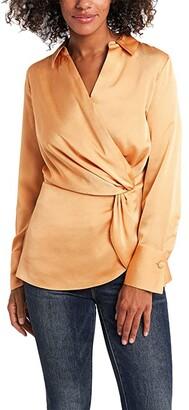Vince Camuto Long Sleeve Hammer Satin Peplum Twist Blouse (Wild Apricot) Women's Blouse