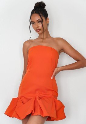Missguided Orange Ruffle Hem Strapless Mini Dress