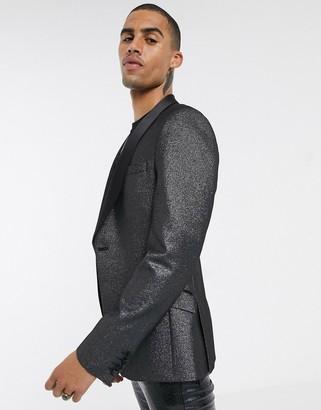 Asos Design DESIGN super skinny blazer in silver glitter with black satin lapel