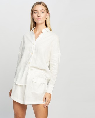 LÉ BUNS Women's White Shirts & Blouses - Willow Linen Button Up Shirt - Size 8 at The Iconic