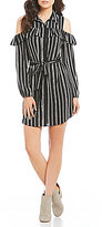 I.N. San Francisco Striped Cold Shoulder Shirt Dress