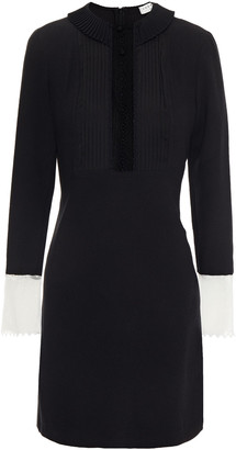 Sandro Point D'esprit-trimmed Pleated Crepe Mini Dress