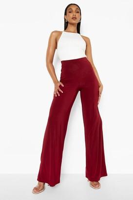 boohoo High Waist Slinky Wide Leg Trousers