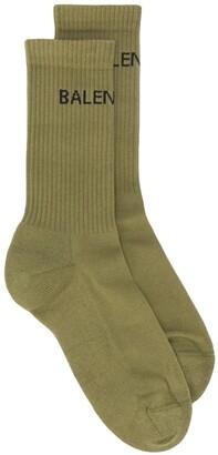 Balenciaga Logo Print Ribbed Ankle Socks